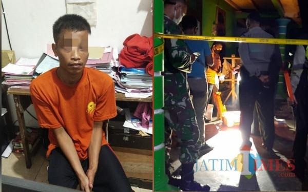 Terduga Pelaku Budi Santoso di Mako Polsek Bandung Tulungagung / Foto : Dokpol / Tulungagung TIMES