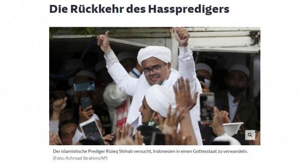 "Kabarkan Kepulangan Rizieq, Media Jerman Sebut Pentolan FPI ""Si Pengkhotbah Kebencian"""