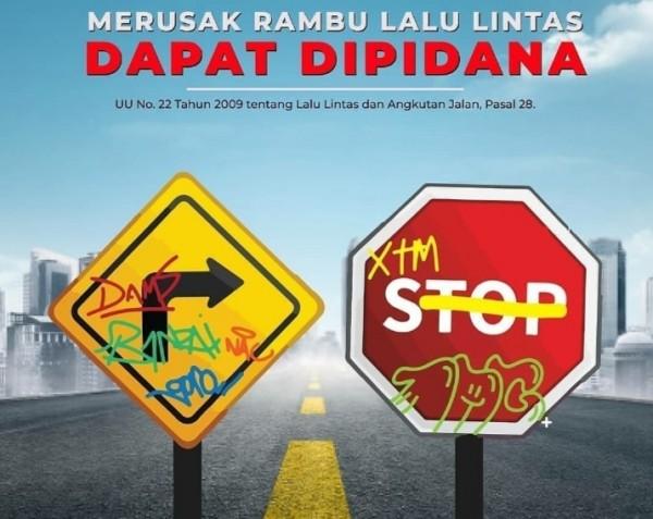 Ilustrasi perusakan rambu lalu lintas (istimewa)