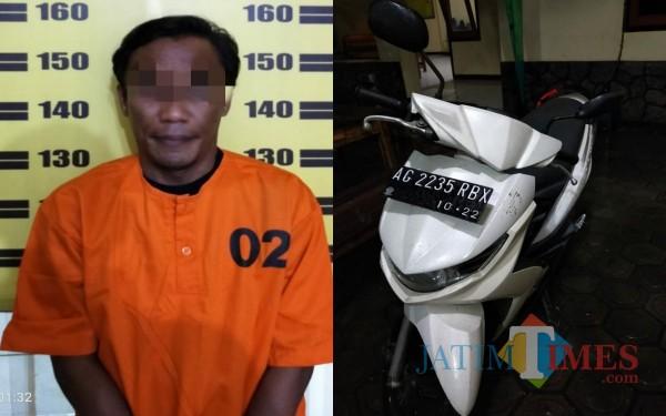 Pelaku BW dan Sepeda motor yang diamankan polisi / Foto : Dokpol / Tulungagung TIMES