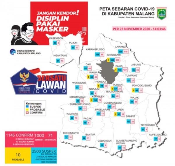 Peta sebaran kasus Covid-19 di Kabupaten Malang periode 23 November 2020 (Foto : Istimewa)