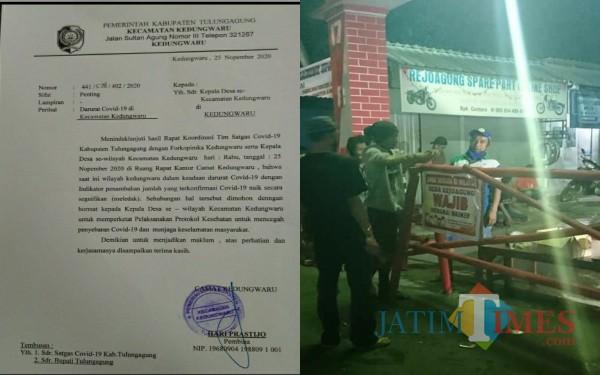 Surat Edaran Camat Kedungwaru dan Portal Covid-19 di Rejoagung / Foto : Istimewa / Tulungagung TIMES