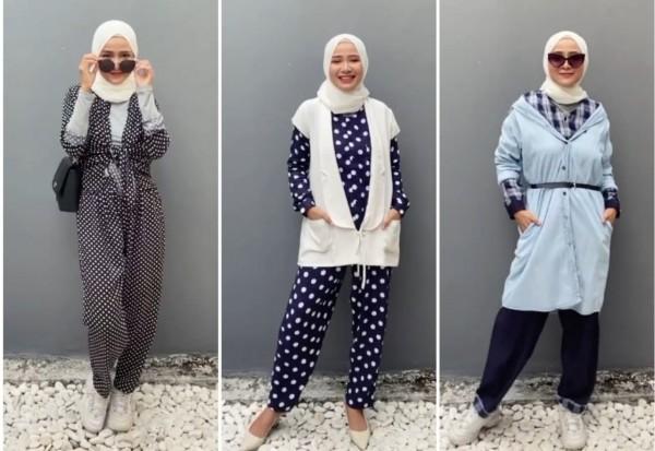 Styling set piyama jadi busana modis ala hijaber Ussiy Fauziah. (Foto: Instagram @ussyfauziah).