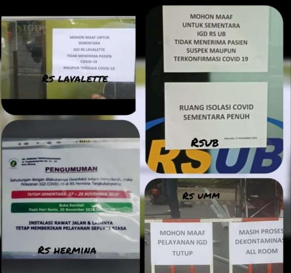 Beberapa rumah sakit yang menginformasikan layanan ditutup untuk pasien covid-19 (istimewa)
