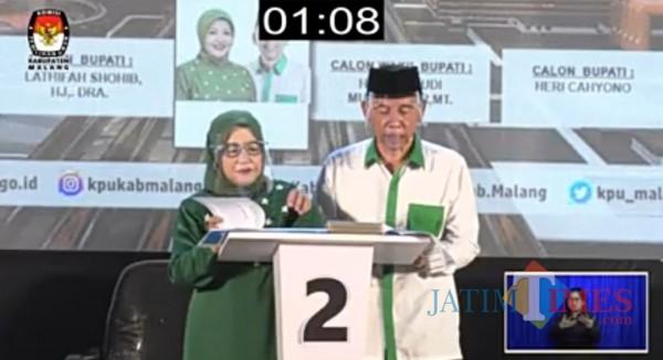 Pasangan Calon Bupati dan Wakil Bupati Malang, Lathifah Shohib dan Didik Budi Muljono (screenshot live streaming)