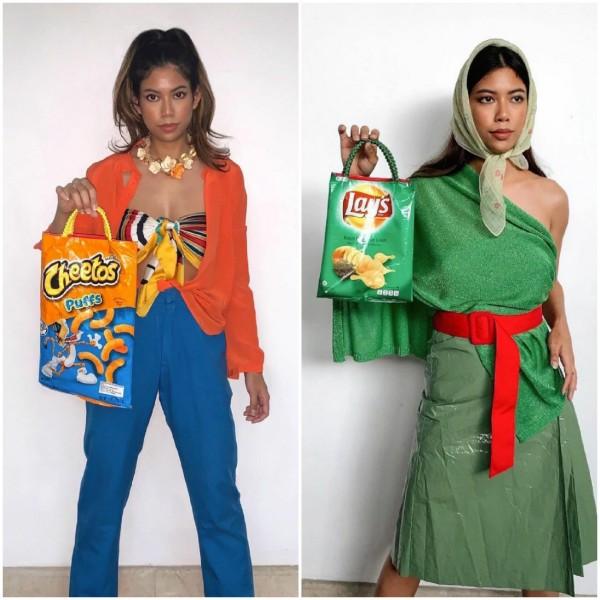 Gaya kece Putri Samboda styling busana ala bungkus snack. (Foto: Instagram @putrisamboda).