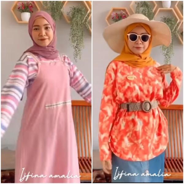 Styling kaus oblong jadi outfit modis ala hijabers Ijfina Amalia. (Foto: Instagram @ijfinaamalia).