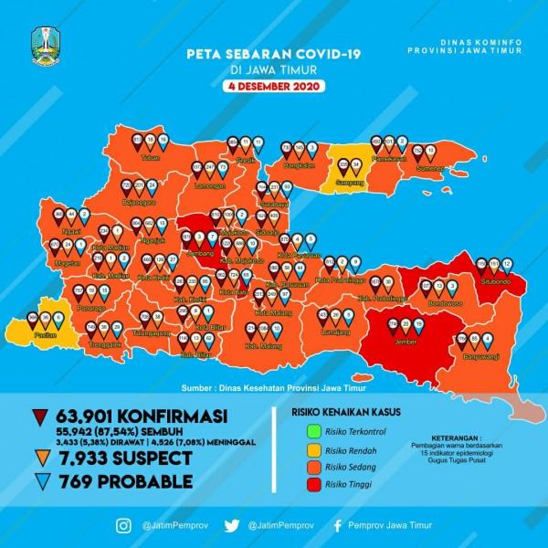 Peta sebaran Covid-19 di Kota Batu, Jumat.