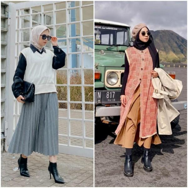 Preppy looks outfit ala hijabers dengan perpaduan Rompi Rajut. (Foto: source Instagram).