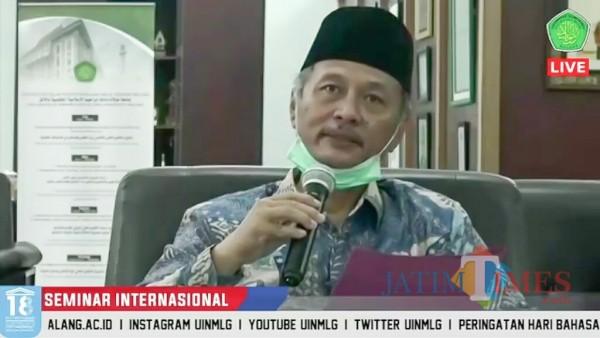 Rektor UIN Malang, Prof Dr Abdul Haris MAg saat memberikan sambutan. (Foto: Ima/MalangTIMES)
