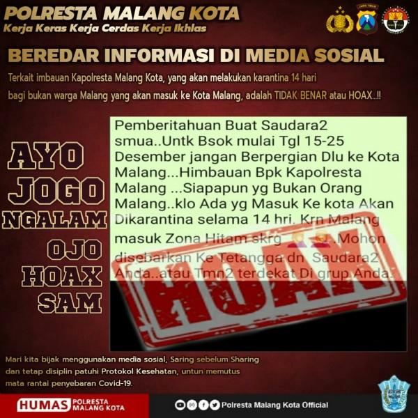 Pesan hoaks terkait larangan berpergian ke Kota Malang yang sempat beredar di media sosial WhatsApp (Ist)
