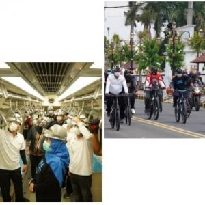 Khofifah Bersepeda di Kota Madiun sambil Bagikan Sembako