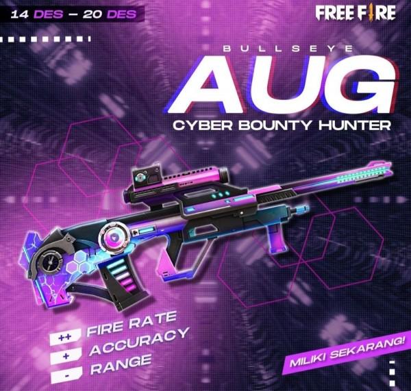Bentuk fisik senjata AUG Cyber Bounty Hunter (Instagram @freefirebgid)