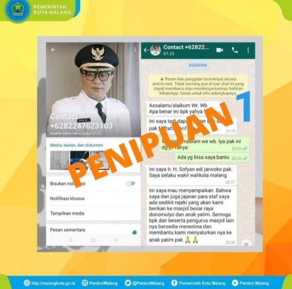 Aksi penipuan yang mencatut nama Wakil Wali Kota Malang, Sofyan Edi Jarwoko (Instagram Pemkot Malang).