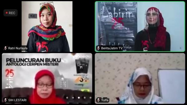 Editor JatimTIMES Group, Nurlayla Ratri (kanan atas) sebagai salah satu penulis buku Labirin 25 bersama 24 perempuan hebat lainnya (Dokumentasi Nurlayla Ratri).