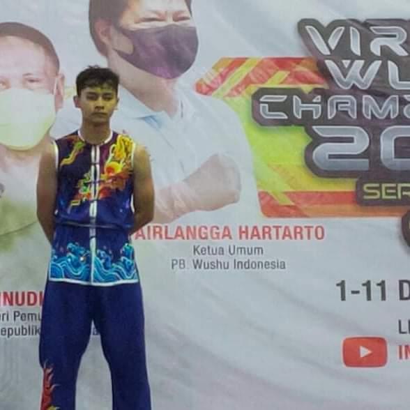 Salah satu atlet Wushu Kota Batu yang bertanding dalam International Virtual Wushu Championship. (Foto: istimewa)