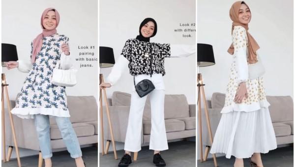 Styling Floral Tunik Untuk Daily Outfit Ala Hijabers Meirani Amalia Jatim Times