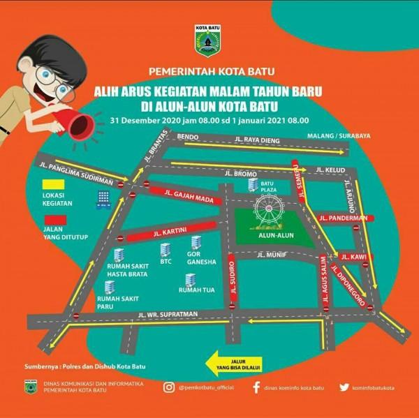 Peta jalan alih arus kegiatan malam tahun baru di Alun-Alun Kota Batu. (Foto: Pemkot Batu)