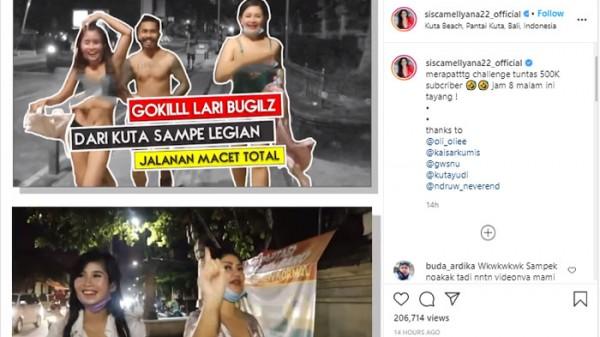 Challenge Lari Gak Pakai Baju di Kuta (Foto: IG siscamellyana22_official)