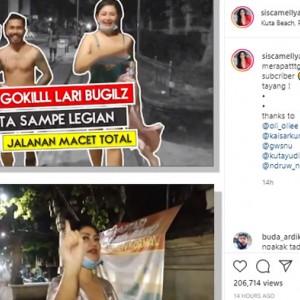 Challenge Lari Gak Pakai Baju di Kuta, YouTuber Ini Janjikan Tidur Bareng Subscriber