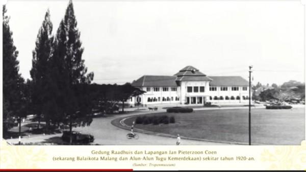 Potret kawasan Balai Kota Malang zaman dahulu. (Foto: Screen Capture video Bimo K.A).