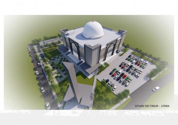Ilustrasi Desain Rancangan Masjid Al-Hikmah oleh PT Yodya Karya Surabaya sebagai Peserta Tender Terpilih. (Foto: istimewa)