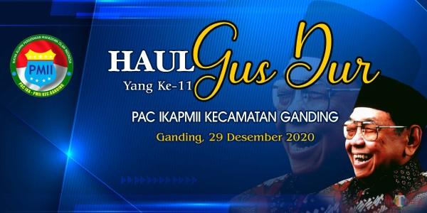 Pamflet kegiatan Haul Gusdur yang ke-11 oleh PAC IKAPMII Ganding, Sumenep (Ist/JatimTIMES)