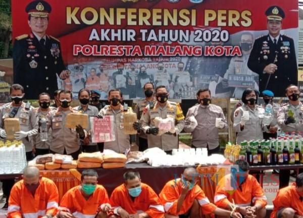 Rilis akhir tahun Polresta Malang Kota yang dilakukan pada Selasa (29/12/2020)(Anggara Sudiongko/MalangTIMES)