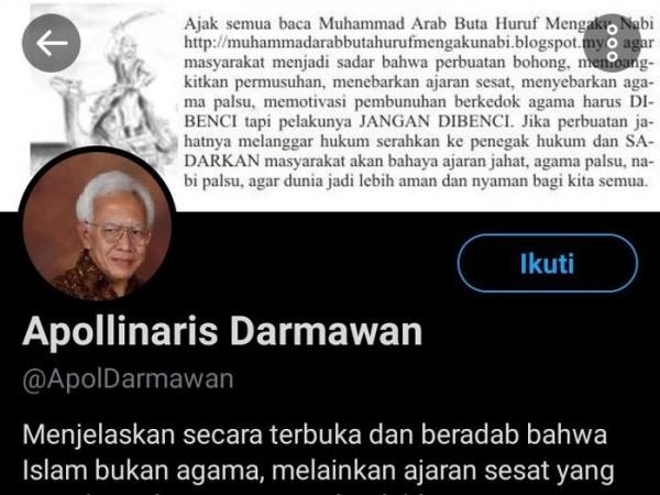 Apollinaris Darmawan (Foto: Twitter @ApolDarmawan)