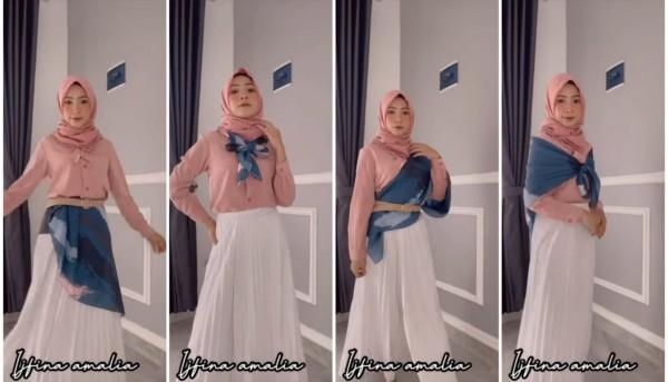 Fashion trick using hijab ala hijabers Ijfina Amalia. (Foto: Instagram @ijfinaamalia).