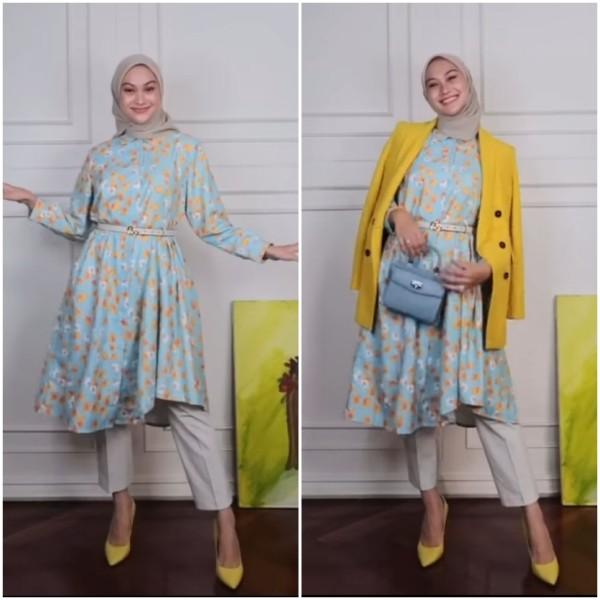 Mix and match floral tunik menjadi outfit lebih ceria ala Indah Nada Puspita. (Foto: Instagram @indahnadapuspita).