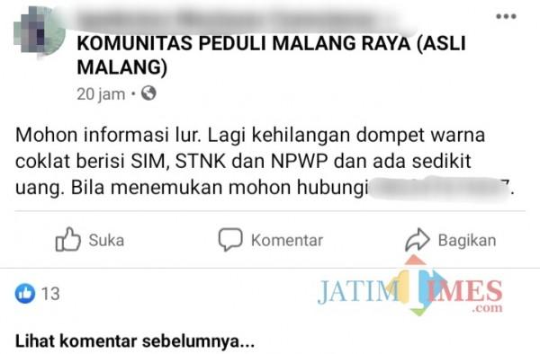 Capture gambar postingan kabar kehilangan yang menyertakan nomor hp (Anggara Sudiongko/Malang TIMES)