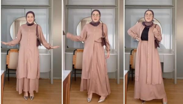Inspirasi One Set Outfit Pastel Jadi 3 Look Berbeda Ala Hijabers Ashry Rizqky Rabani