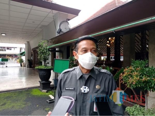 Sekda Kabupaten Malang, Wahyu Hidayat saat memaparkan kesiapan Pemkab Malang dalam mendistribusikan vaksin Covid-19