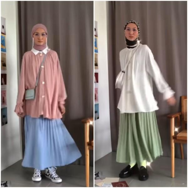 Mix And Match Rok Plisket Ala Hijabers Inas Rana Buat Segala Aktivitas Makin Kece