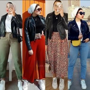 Inspirasi Mix and Match Leather Jacket untuk 4 Outfit Berbeda Ala Hajar Gamal