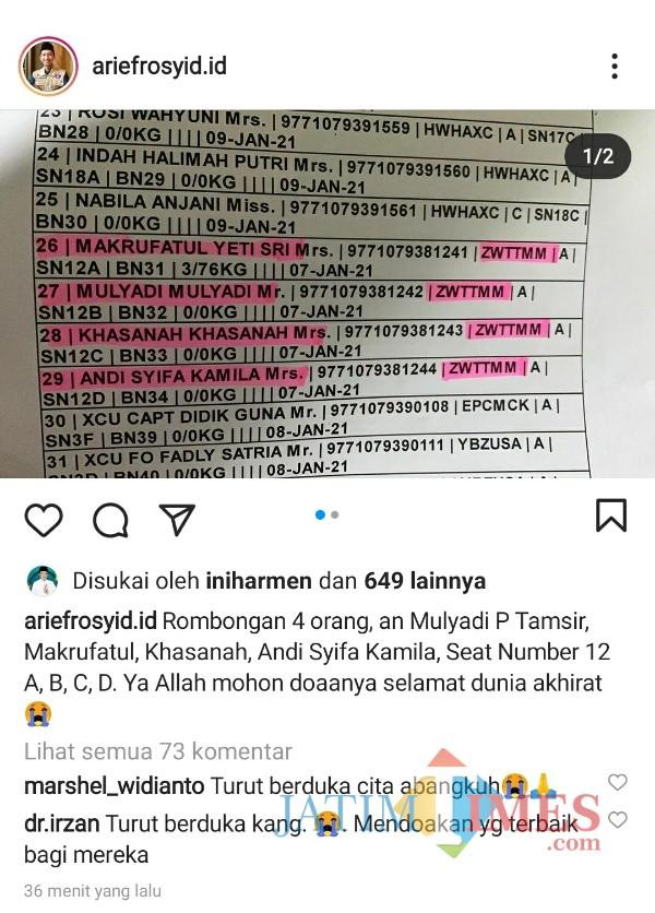 Tangkapan layar akun media sosial di Instagram milik Arief Rosyid (@ariefrosyid) yang juga mantan Ketua Umum PB HMI (foto: Mariano Gale-MalangTIMES)