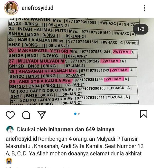 Unggahan akun @ariefrosyid.id di Instagram terkait kabar Mantan Ketua HMI yang turut jadi korban dalam kecelakaan Pesawat Sriwijaya Air (Istimewa)