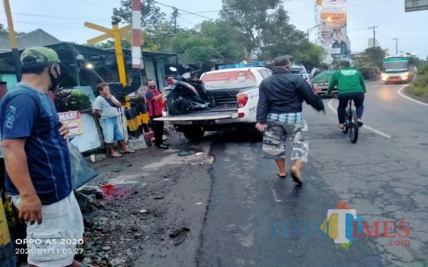 Lokasi Kecelakaan dua kendaraan di Jalan Raya Ngunut Tulungagung / Foto : Dokpol / Tulungagung TIMES