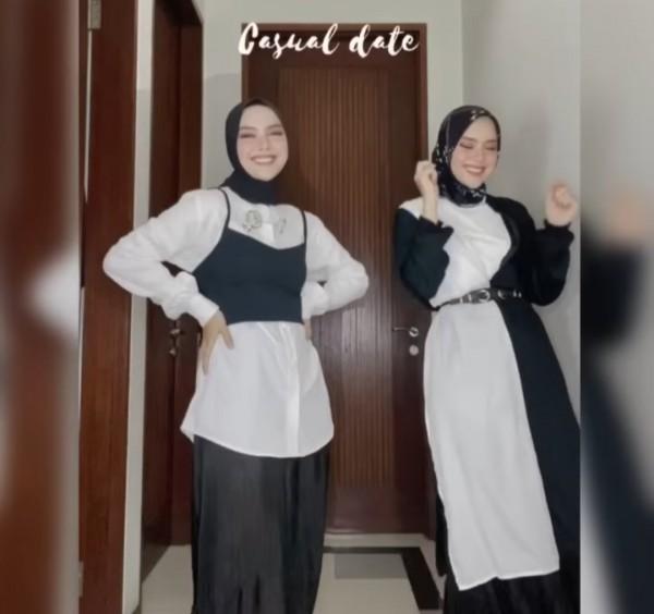 Styling black white vibes ala hijabers Tiqasya. (Foto: Instagram @tiqasya).