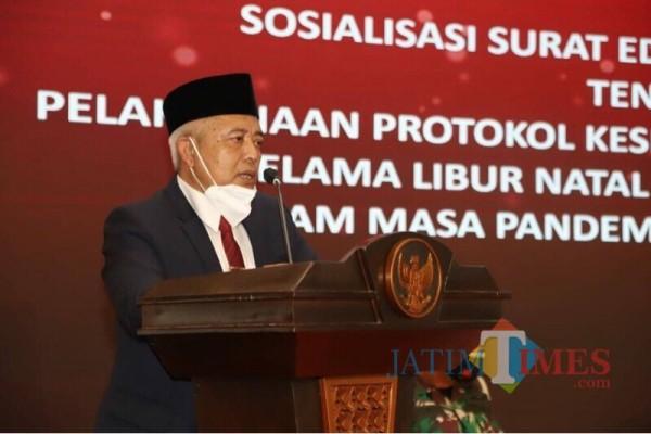 Bupati Malang Sanusi saat memberikan arahan ketika rapat koordinasi dan sosialisasi PPKM (Foto: Istimewa)