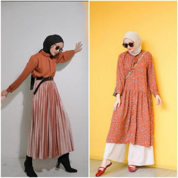 Padu padan outfit warna orange ala hijabers tanah air. (Foto: source Instagram).