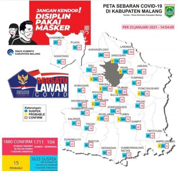 Peta sebaran pasien covid-19 di Kabupaten Malang per 23 Januari 2021 (Kominfo Kabupaten Malang)
