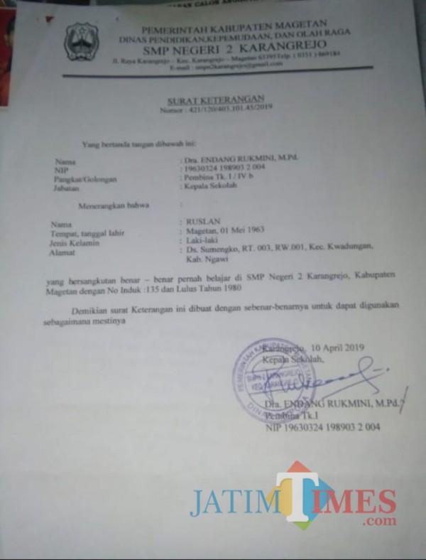 Surat keterangan pernah belajar dan lulus 1980, Salah satu syarat yang di lampirkan Ruslan saat mencalonkan BPD.