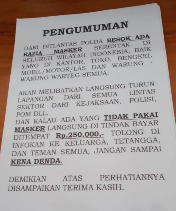 Beredar Pesan Denda Tak Bermasker Rp 250 Ribu, Polres Malang: Belum Ada Petunjuk