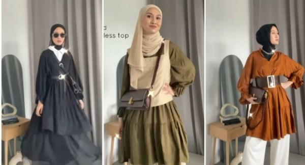 Styling tunik ruffle ala hijabers Inas Rana. (Instagram @inasrana).