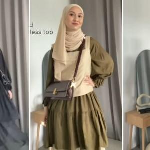 Styling Tunik Ruffle ala Hijabers Inas Rana Bikin Outfit Harian Lebih Modis