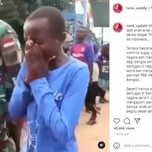 Viral Video Anak-Anak Afrika Nangis Kejer saat Satgas TNI Pamit Pulang ke Indonesia