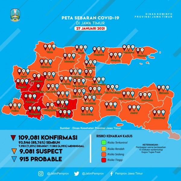 Peta sebaran Covid-19 Jawa Timur. (Foto: Pemprov Jawa Timur)