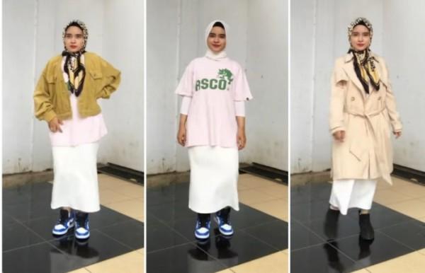 Inspirasi style yang simple dengan rok span ala hijabers Siti Maryamul Ilfa. (Foto: Instagram @maryamulilfa)